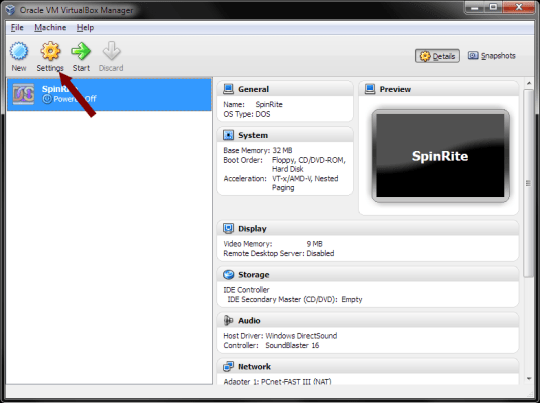 VirtualBox - Settings Option