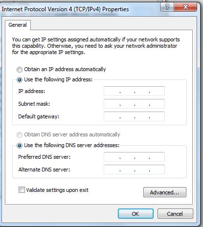 TCP/IP v4 Setting