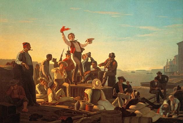 George Caleb Bingham - Jolly Flatboatmen In Port - 1846
