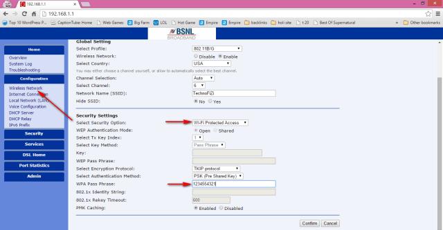 How to change BSNL broadband WiFi modem password