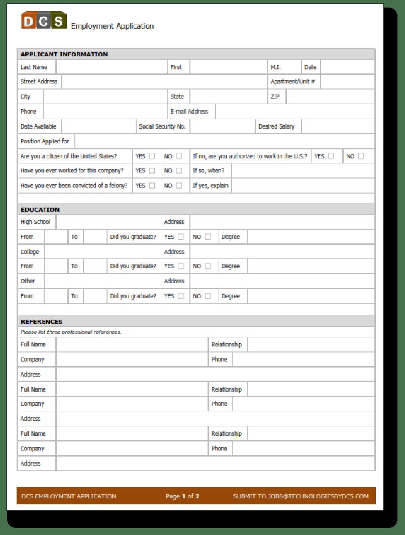 DCS Job Application 2015