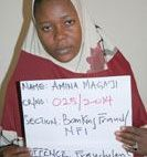 Amina Magaji, one of the three former bank employees alleged by EFCC to have stolen over 47 million from the bank account of Late Emir of Kano, His Royal Highness Alhaji Ado Bayero