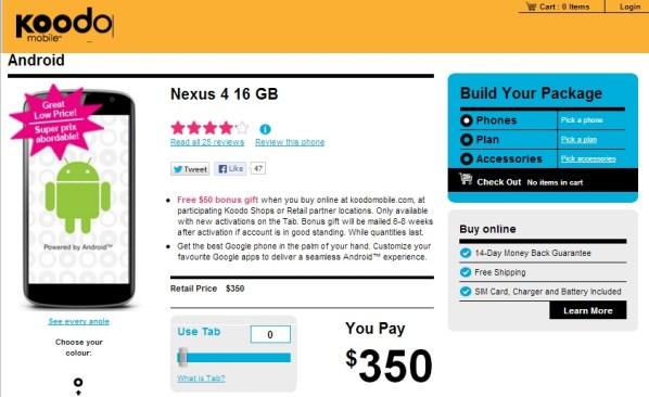 Nexus 4 Koodo Canada