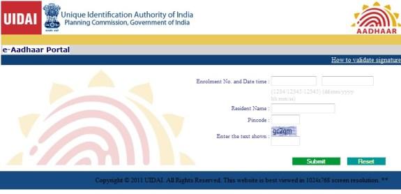 eAdhaar Card Online