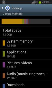 Galaxy Star Pro Storage