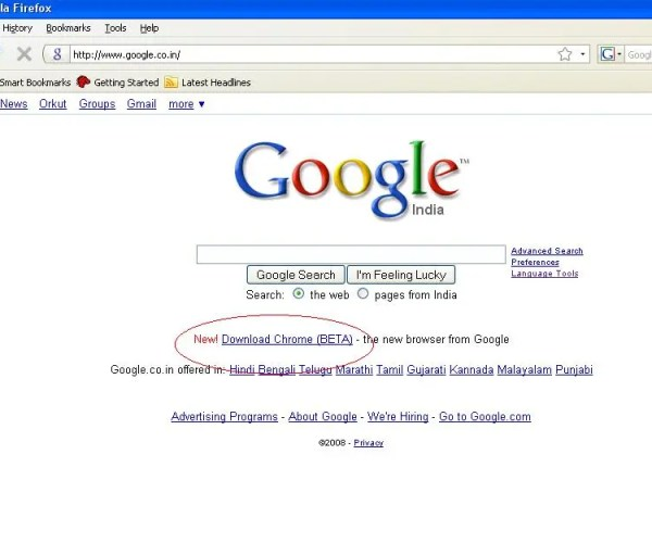 chrome-Google-homepage