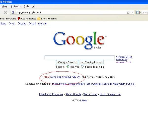 chrome-Google-homepage