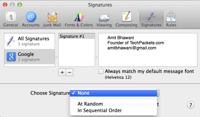 Setup Apple Mail App Signatures