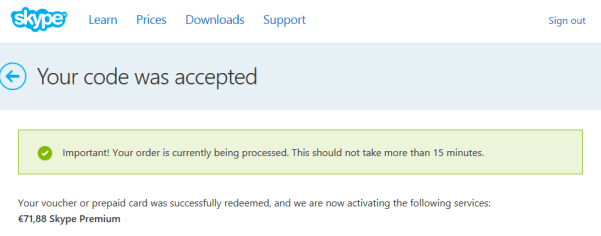 Skype Code Accepted