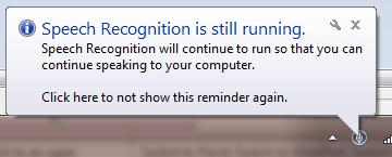 Speech Recognition Running Taskbar