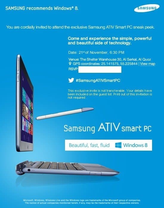 Samsung ATIV Smart PC Sneak Peek Invite Samsung Galaxy Android Camera and Windows 8 powered Samsung ATIV smart PC launching this week in Dubai.