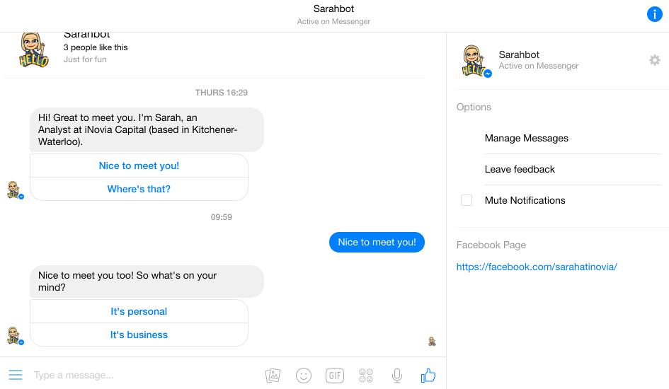 Sarah Bot messenger