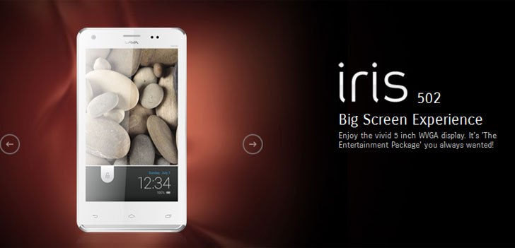 Lava Iris 502, a 5-inch, dual-SIM Jelly Bean phone priced at Rs. 8,499
