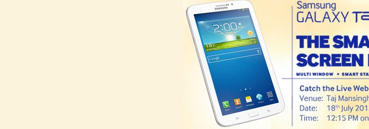 Watch live webcast of Samsung Galaxy Tab 3 India launch event