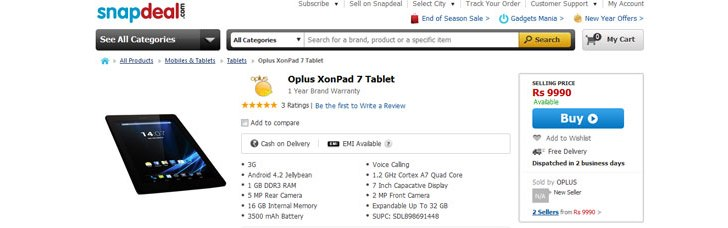 Oplus XonPad 7, a 7″ 3G tablet with Android 4.2 launched at Rs. 9,990