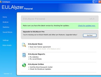 eulalyzer-personal-main-screen
