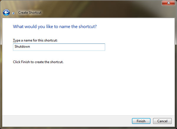 enter a name for the shortcut Create Desktop Shortcuts to Shutdown, Lock or Restart Windows 7