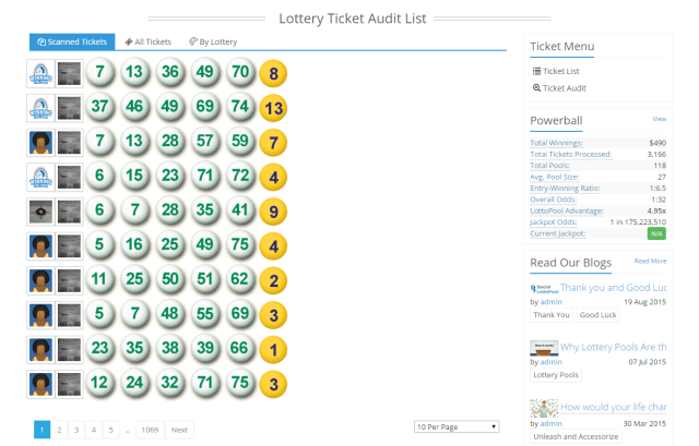 Lottery Ticket Audit List   Social Lottery Pool