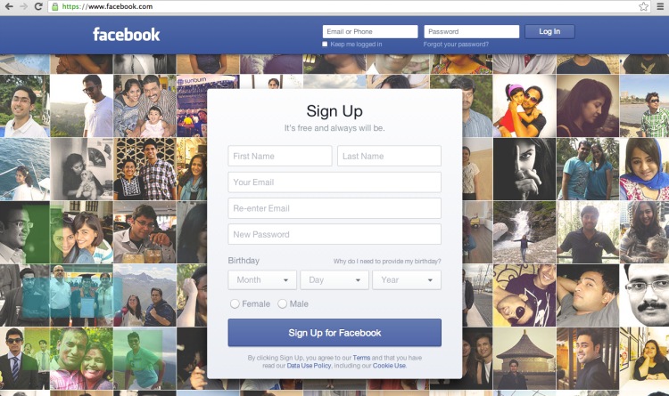 Facebook's New Login Page