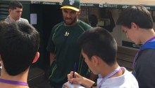 Marcus Semien talks to reporters for the Teen Observer before the Oakland A's took on the Houston Astros on Aug. 6. Photo by Haley