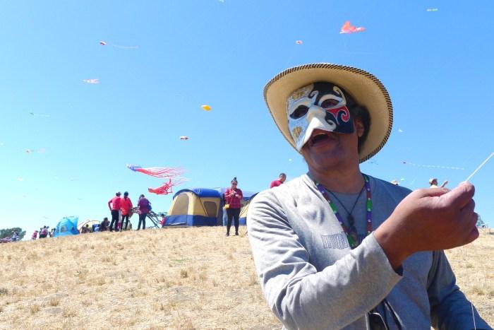 "Wadell Hunter flies his ""Frozen"" kite."