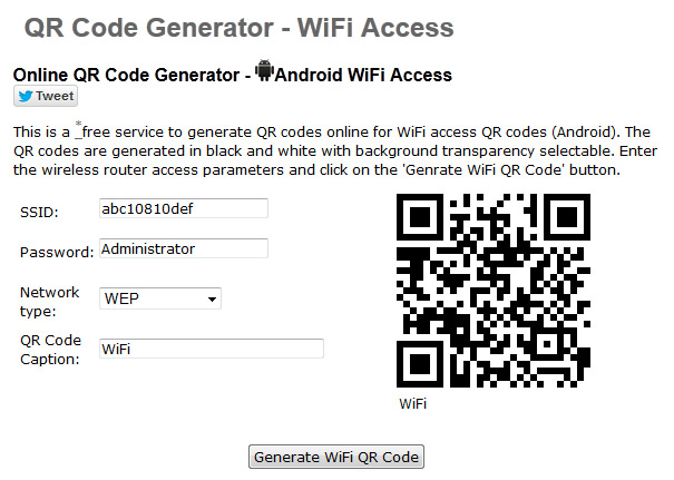 Web para generar cdigo QR de tu conexin Wi-Fi