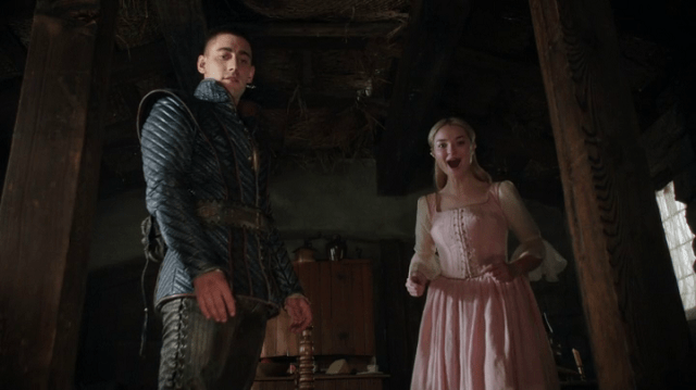 screencap of will scarlet (played by micael socha) and his love, anastasia (played by emma rigby)