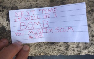 Pictures of threat to mosque in Rotherham