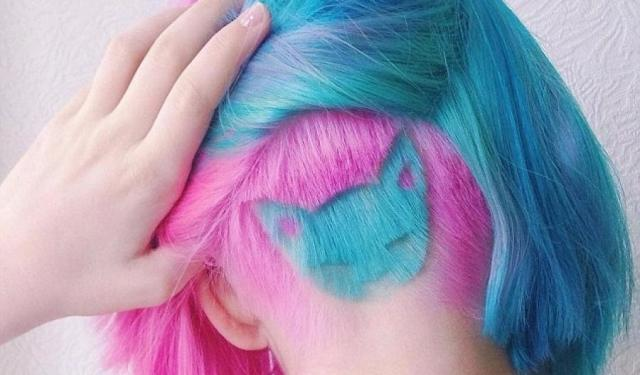 Insta-Fashion, trend, undercut, cat, rainbow, feline, hairstyle, fashion, Aliya Askarova, hair, woman, Russia, photo, dyed, blue, tattoos, shaved, Katichka, Twitter, Instagram, girls, likes, daunting, cat-lover
