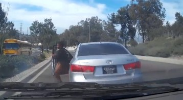 LiveLeak.com   Lady Randomly Gets Out Of Moving Car