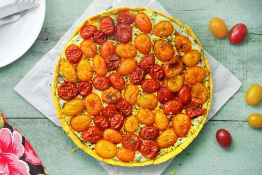 torta de tomates assados sem glúten e sem lactose