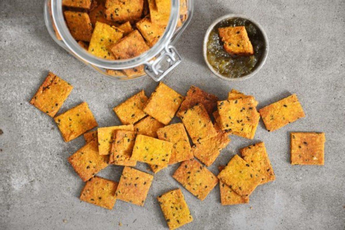 Cracker sem gluten vegano assado