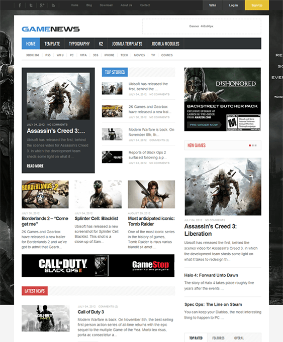 game news review joomla templates