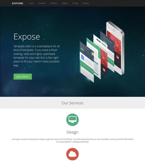 expose one page wordpress theme