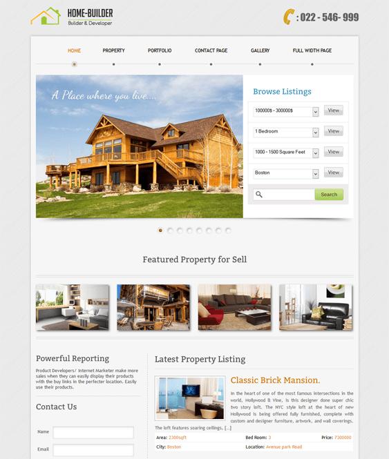 homebuilder real estate wordpress theme