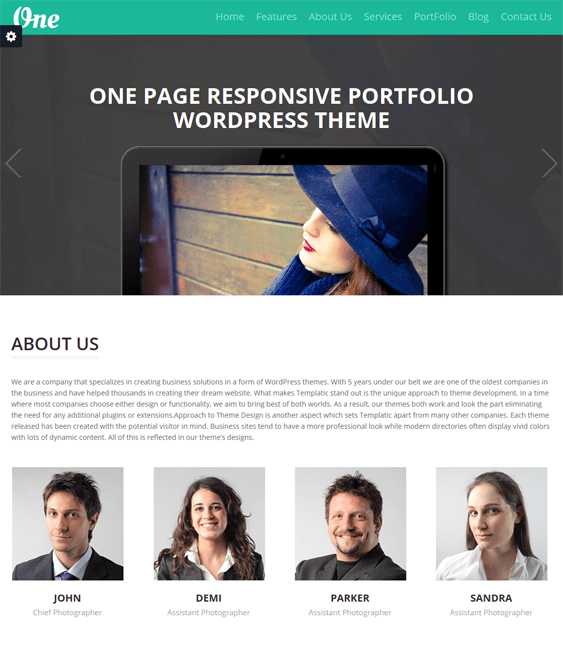 onepager one page wordpress theme