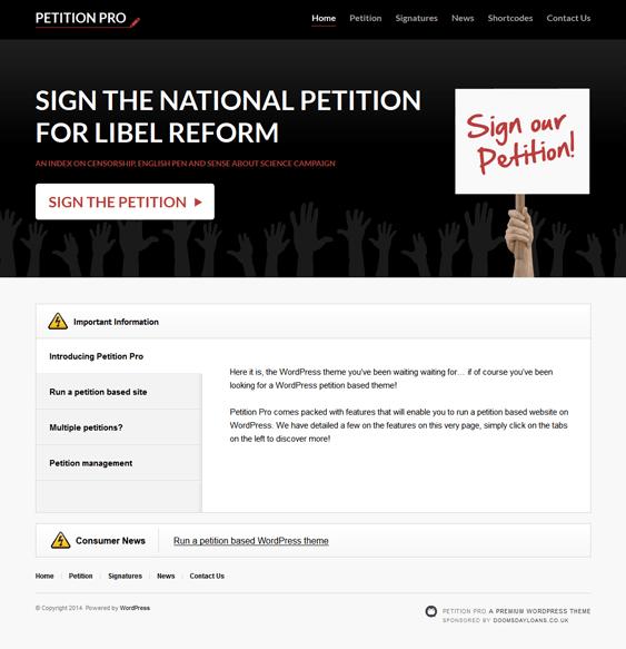 petition pro political wordpress theme