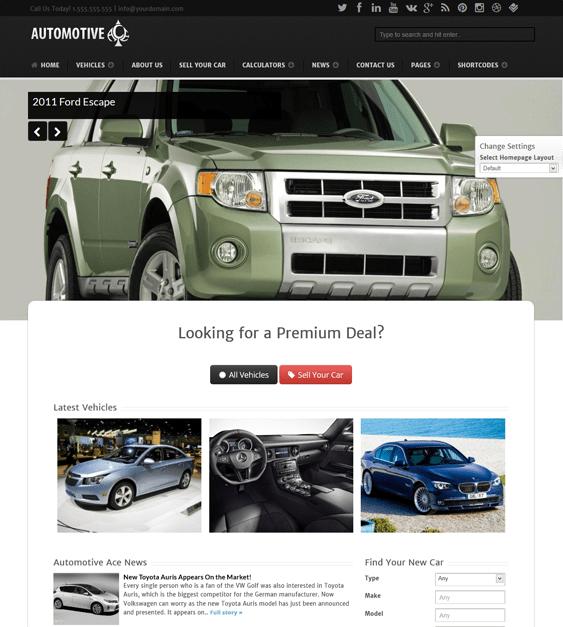 automotive ace car dealership wordpress themes