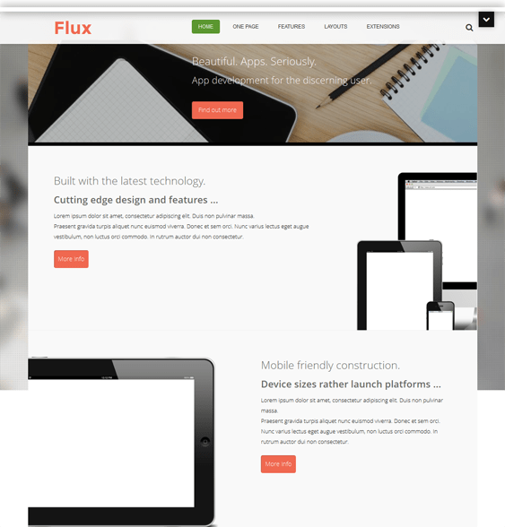 flux joomla template for promoting apps