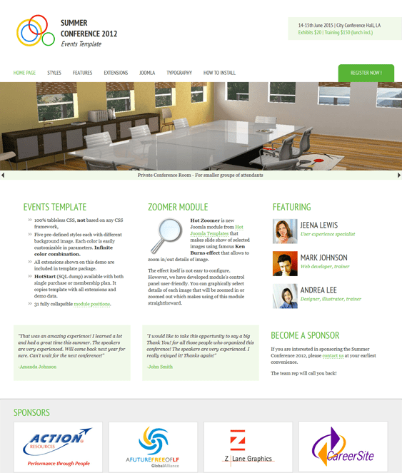 joomla events template