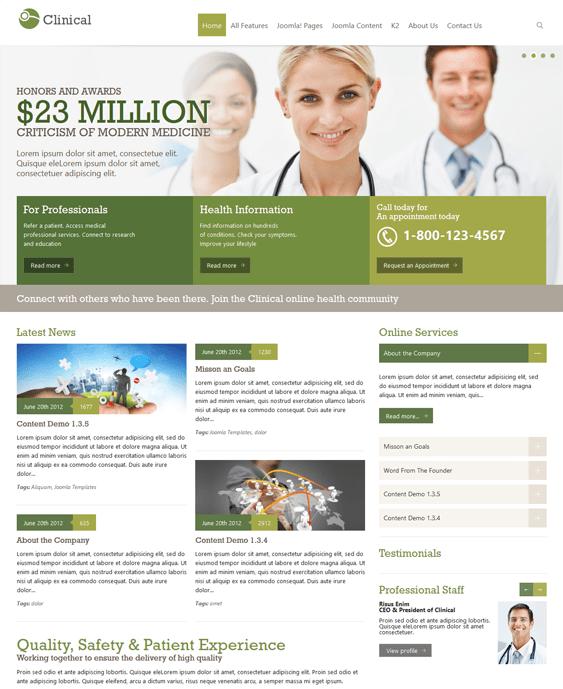 ot clinical health medical joomla theme