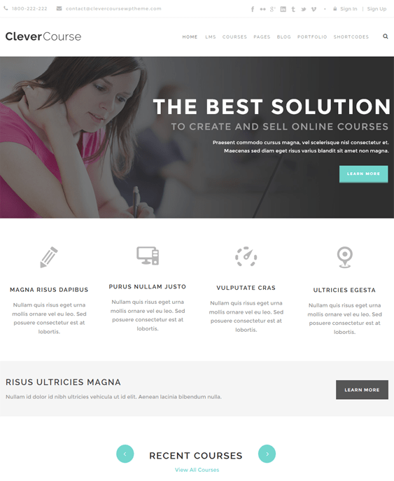 clever course education wordpress theme