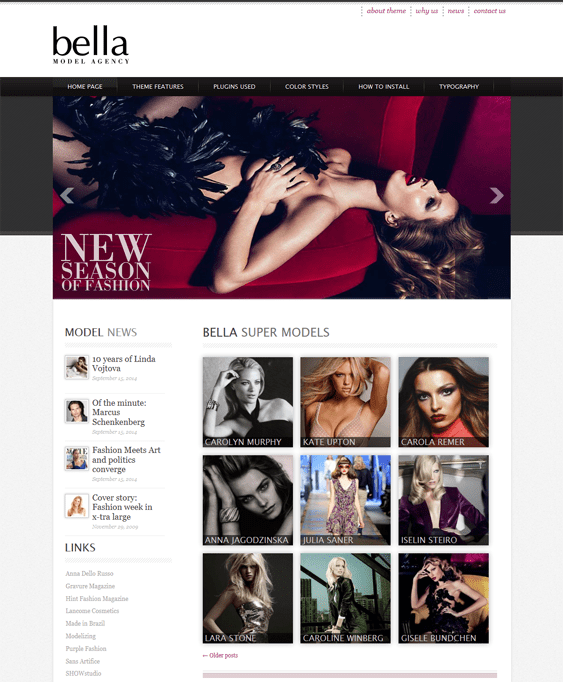 bella model agency wordpress theme