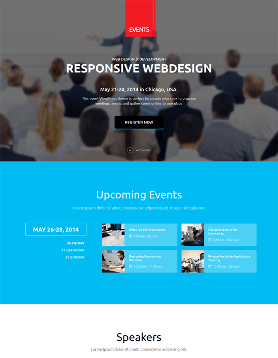 events wordpress theme for events