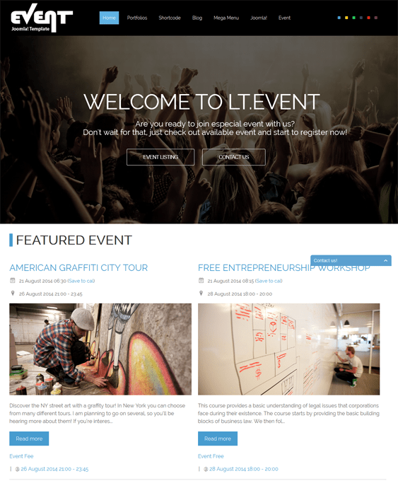 lt event joomla template