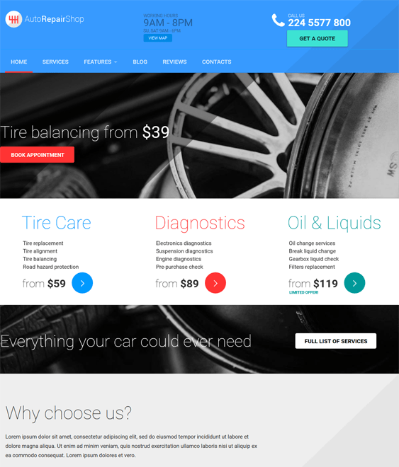 autorepair car vehicle automotive wordpress theme