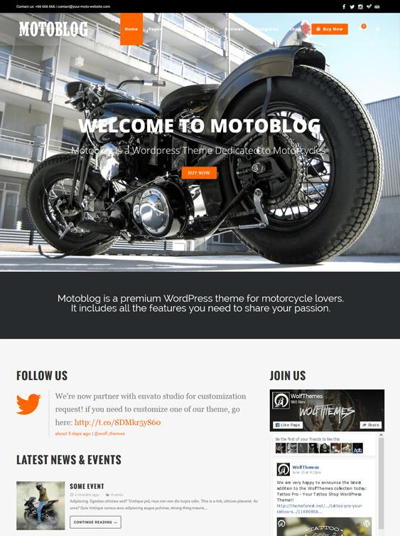 motoblog car vehicle automotive wordpress theme