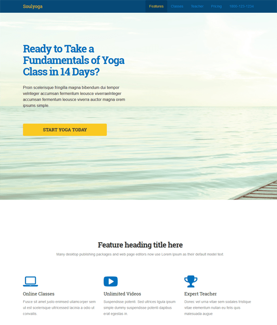 soulyoga landing page wordpress theme