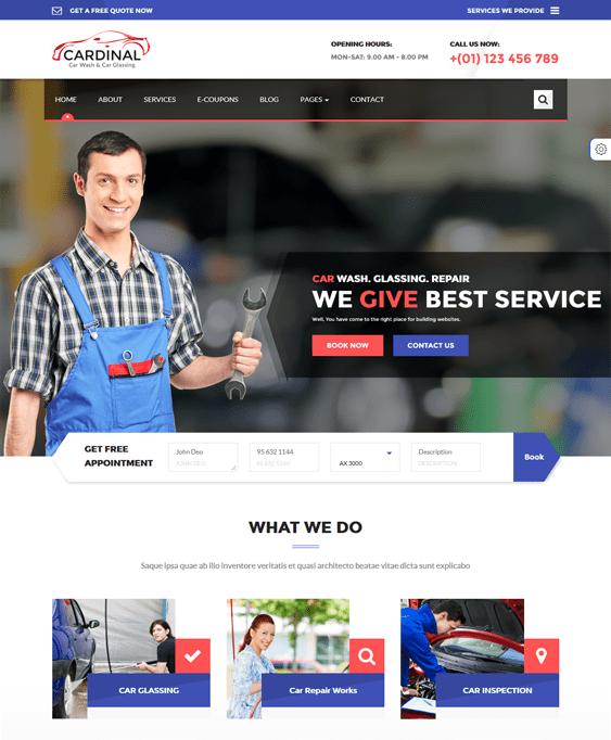 car dinal car mechanic repair shop wordpress themes