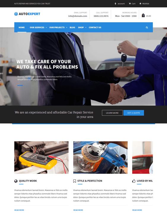 pro agency car mechanic repair shop wordpress themes